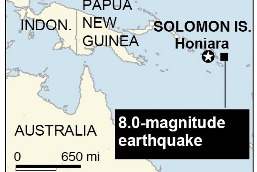 The Pacific Tsunami Warning Center said a tsunami of about a meter (3 feet) was measured in Lata wharf. Smaller waves were recorded in Vanuatu and New Caledonia.