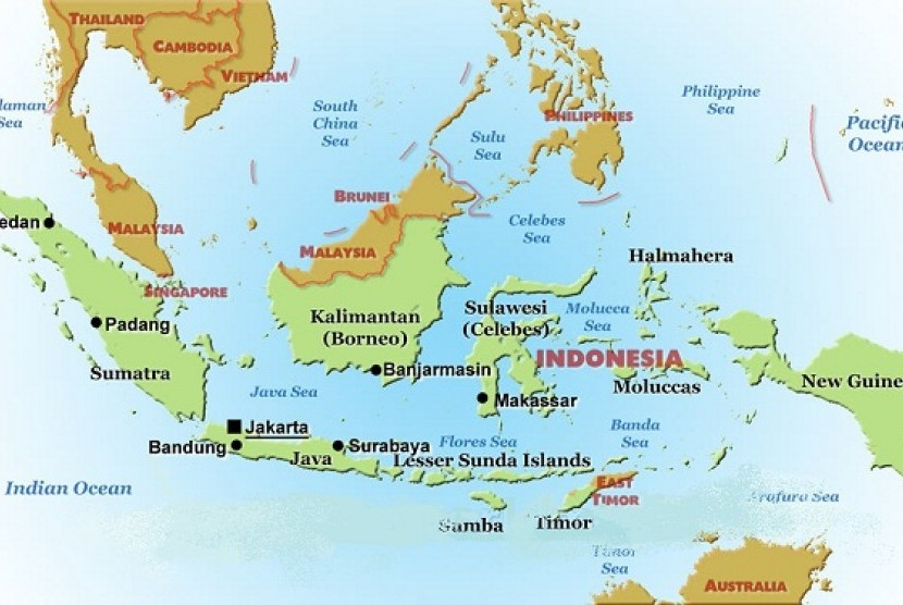The 'controversial' Usman-Harun navy ship plans to guard eastern Indonesia, according to an official on Saturday. (Map of Indonesia)