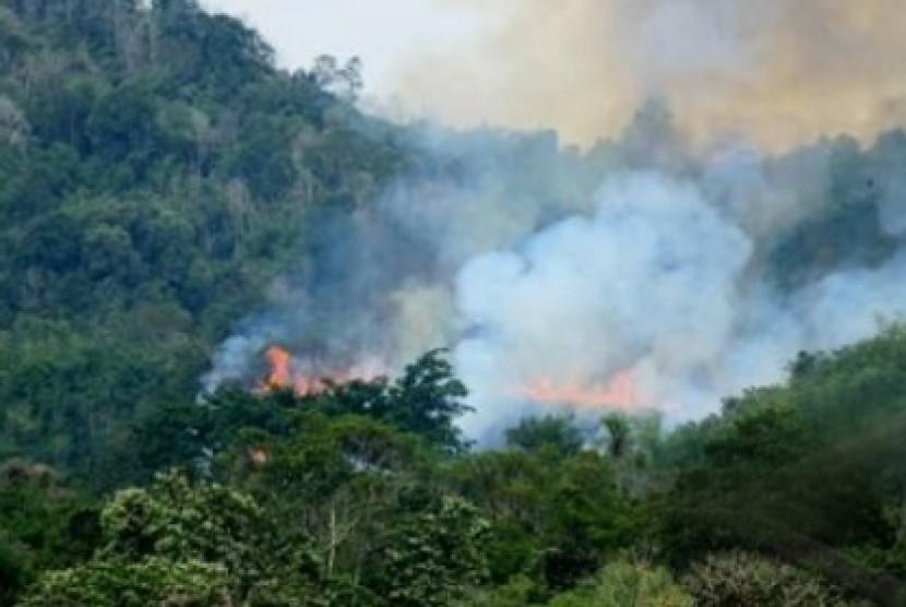 Titik panas kebakaran lahan di Sumatra.
