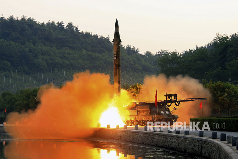A ballistic missile test equipped with a precision guidance system, in an undisclosed location in northern Korea.