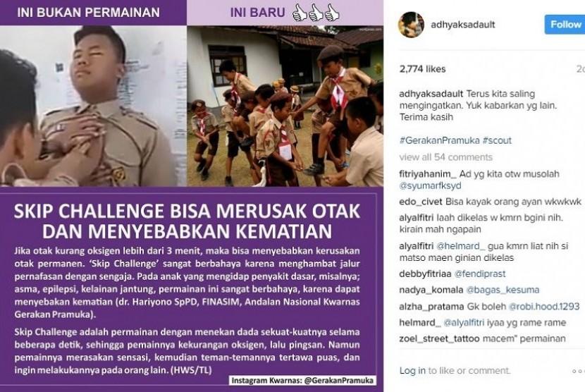 Unggahan Ketua Kwarnas Gerakan Pramuka Kak Adhyaksa Dault terkait bahaya Skip Challenge