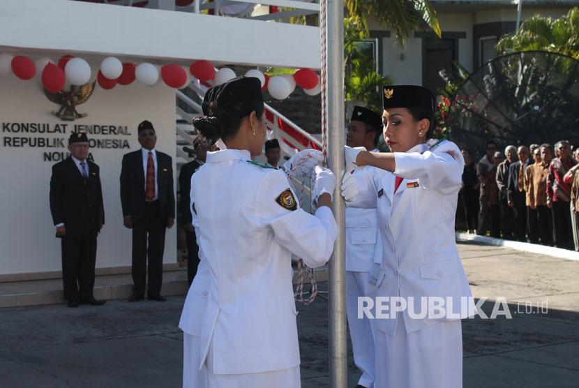Upacara HUT Kemerdekaan ke-72 RI di KJRI Noumea, New Caledonia.