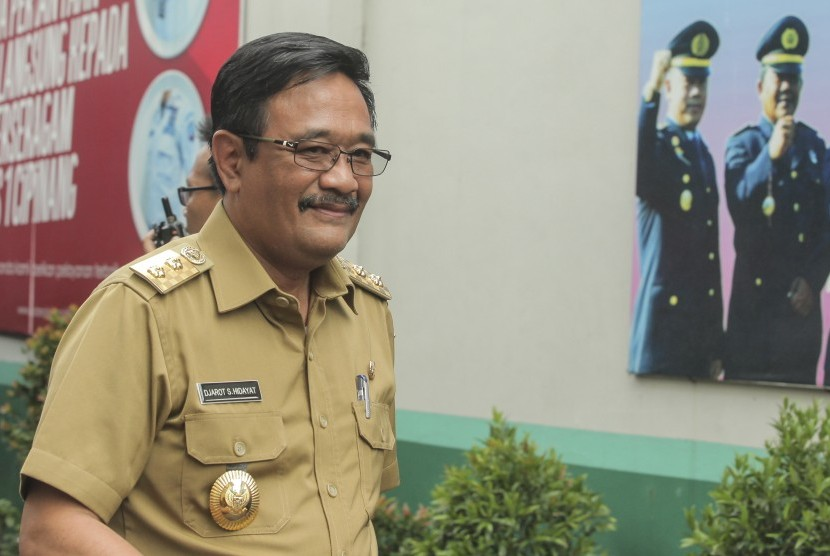 Jakarta deputy governor Djarot Saiful Hidayat pays a visit to Basuki Tjahaja Purnama (Ahok) at Cipinang Correctional Institution, Jakarta, Tuesday (May 9).