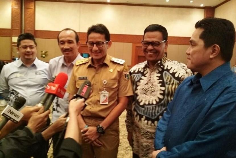Wakil Gubernur DKI Jakarta Sandiaga Uno saat memberikan keterangan terkait Asian Games 2018.