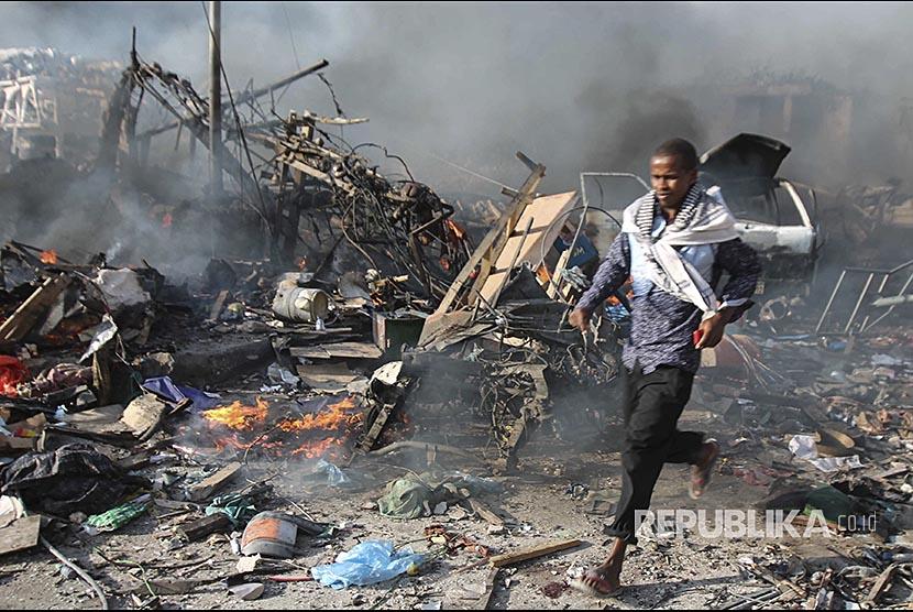 Mogadishu kembali diguncang bom pada Jumat (23/2). Pada 14 Oktober 2017, lokasi ledakan bom terjadi di depan Safari Hotel, Mogadishu, Somalia.