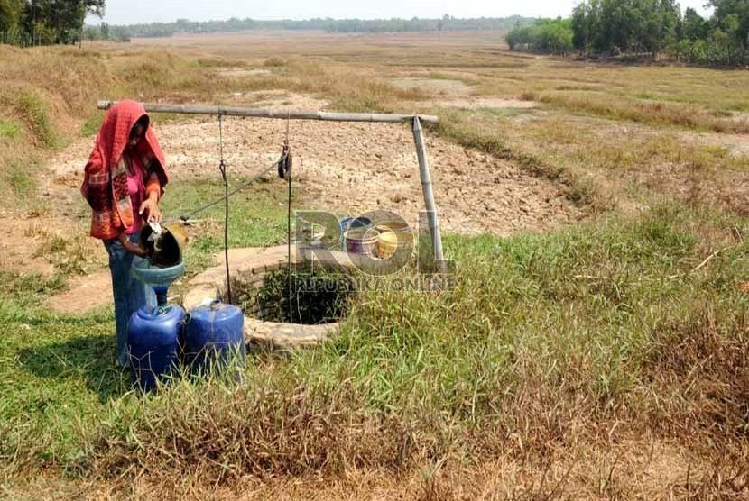 Warga menimba air di sebuah sumur di tengah sawah yang mengalami kekeringan (Ilustrasi)