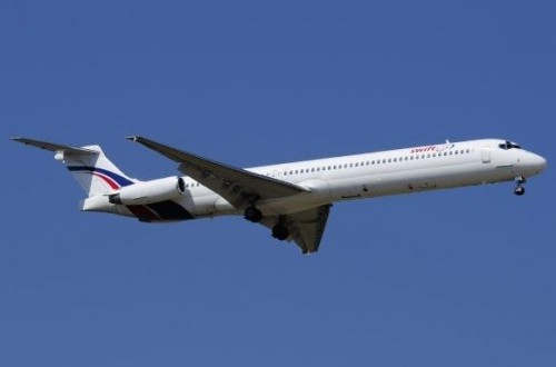 A Swiftair MD-83 airplane is seen in this undated photo. Authorities have lost contact with an Air Algerie flight en route from Ouagadougou in Burkina Faso to Algiers with 110 passengers on board, Thursday.