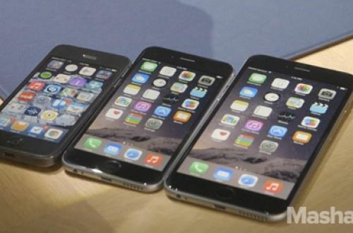iPhone 5, iPhone 6, dan iPhone 6 Plus dijejerkan secara berurutan.