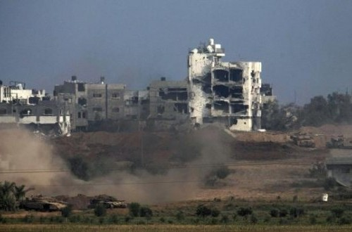Israeli tanks are seen in the northern Gaza Strip July 28, 2014.