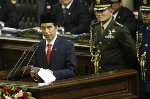 Joko Widodo (Jokowi) membacakan pidato pertamanya sebagai Presiden RI, Senin (20/10)