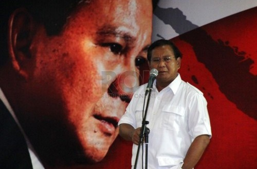 Presidential candidate from Gerindra Party, Prabowo Subianto (file photo)