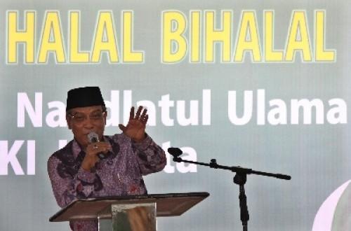 Ketua Umum PBNU Said Aqil Siradj berpidato saat Halal Bihalal Pengurus Wilayah Nahdlatul Ulama DKI Jakarta, Ahad (25/8).