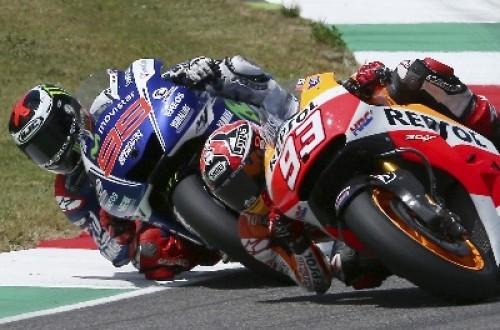 Pembalap Marc Marquez dan Jorge Lorenzo di Sirkuit Mugello, Italia.