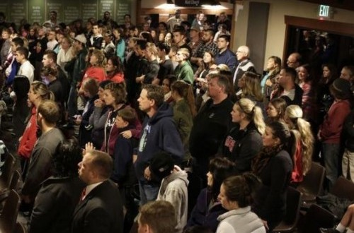 People attend a community vigil at the Grove Church following a shooting at Marysville-Pilchuck High School in Marysville, Washington October 24, 2014.