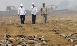 Presiden Joko Widodo (tengah) didampingi Menteri Pekerjaan Umum dan Perumahan Rakyat Basuki Hadimuljono (kiri) dan Gubernur Sumsel Alex Noerdin (kanan) meninjau proyek pembangunan jalan tol Trans Sumatera ruas Palembang-Indralaya (Palindra) di Desa Ibul B