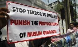 Aksi muslim di Myanmar menentang gerakan anti-Muslim.