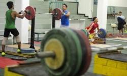 Atlet angkat besi mengikuti pemusatan latihan di Kawasan Stadion Gelora Bung Karno Jakarta, Jumat (4/3).