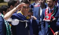 Cristiano Ronaldo saat tiba di Belem Palace untuk bertemu dengan Presiden Portugal Marcelo Rebelo de Sousa.