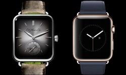 Jam tangan Moser Swiss Alp yang memiliki desain mirip dengan jam tangan pintar Apple Watch.