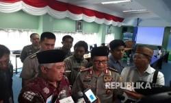 Ketua Dewan Pertimbanhan (Wantim) Majelis Ulama Indonesia (MUI), Prof Din Syamsuddin usia menggelar dialog bersama Kapolri Jenderal Tito Karnavian di Gedung MUI, Jakarta, Selasa (21/3)