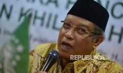 Ketua Umum PBNU KH Said Aqil Siradj memberikan pemaparan saat diskusi bersama awak media yang diselenggarakan di Perpustakaan PBNU, Jakarta, Jumat (19/5).