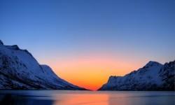 Sun sets at Antarctica