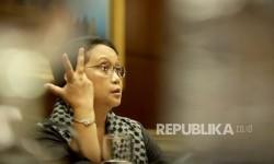 Menteri Luar Negeri, Retno L.P Marsudi saat emenrima kunjungan Republika di Kementerian Luar Negeri, Jakarta, Kamis (14/9).