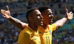 Neymar (kiri) dan Gabriel Jesus