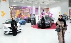 Pameran otomotif khusus perempuan di Jeddah, Arab Saudi, Kamis (11/1).