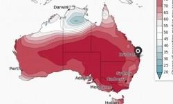 Peluang suhu maksimum di atas median di wilayah Australia selama Maret-Mei.