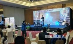 Peluncuran transportasi daring ATrans, Jakarta, Selasa (18/7).