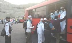 Petugas mengarahkan jamaah haji menunju bus jemputan di Terminal Bab Ali