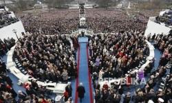 Presiden AS Donald Trump tiba dilokasi acara upacara inagurasi di Gedung Capitol, Washington DC, Jumat (20/1).