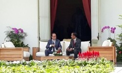 Presiden Joko Widodo menerima kunjungan Presiden Perancis François Hollande di Istana Negara, Rabu (29/3).