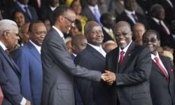 Tanzanian President John Magufuli (middle right).