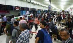 Lebaran homecoming travelers at Soekarno-Hatta International Airport.