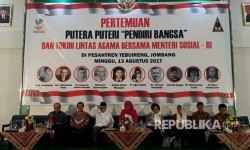 Sejumlah putera-puteri para pendiri bangsa lakukan pertemuan untuk seruan nasional di Pondok Pesantren Tebu Ireng Jombang, Ahad (13/8).