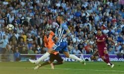 Sergio Aguero mencetak gol perdana Manchester City musim ini ketika menghadapi tim promosi Brighton. City menang 2-0 pada laga yang digelar di Stadion Amex, Brighton, Ahad (13/8) dini hari WIB.