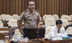 Wakapolri Komjen Pol Syafruddin (kiri) didampingi Kabareskrim Polri Komjen Pol Ari Dono Sukmanto (kanan) menghadiri rapat dengar pendapat umum (RDPU) dengan Pansus Hak Angket KPK di kompleks Parlemen Senayan, Jakarta, Rabu (19/7).