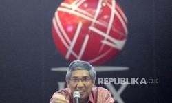 Wakil Menteri Keuangan Mardiasmo menjadi pembicara dalam sumbang saran dan pemirikan saat launching buku Menuju Ketangguhan Ekonomi di Gedung Bursa Efek Indonesia (BEI), Jakarta, Selasa (4/4).
