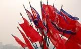 Bendera Korea Utara.