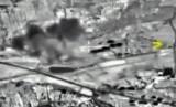 Dalam foto yang diambil dari situs resmi Kementerian Pertahanan Rusia, Jumat (2/10), terlihat sebuah bom meledak di Suriah.