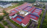 Foto aerial delapan lapangan tenis tambahan di Kompleks Jakabaring City (JSC) Palembang, Sumatra Selatan.