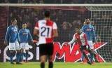 Jeremiah St. Juste (kedua dari kanan) merayakan gol yang memastikan kemenangan Feyenoord 2-1 atas Napoli pada Grup F Liga Champions UEFA di De Kuip, Rotterdam, Belanda, Kamis (7/12) dini hari WIB.