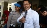 Kepala Badan Reserse dan Kriminal Polri Komisaris Jenderal Budi Waseso memberikan pernyataan kepada awak media di Gedung Bareskrim, Jakarta, Rabu (2/9).    (Republika/Raisan Al Farisi)