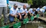 Koalisis Lestari Hutanku bersama Kementerian Lingkungan Hidup dan Kehutanan mengadakan kegiatan menanam pohon mangrove di Pantai Indah Kapuk, Jakarta Utara, Ahad (14/1).