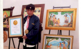 Maestro lukis wayang asal Boyolali Ki Djoko Sutejo raih rekor dunia.