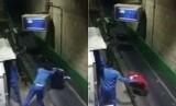 Petugas melempar bagasi penumpang