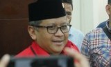 Sekretaris Jenderal PDIP Hasto Kristiyanto usai pertemuan di Kantor DPP PKB Jalan Raden Saleh Jakarta Pusat, Selasa (10/4).
