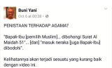 Three sentences that Buni Yani posted commenting the video of Basuki Tjahaja Purnama speech have made him suspect of defamation and provocative statement.
